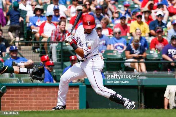 Texas Rangers Center field Carlos Gomez is hit by a pitch during the MLB baseball game between the Oakland Athletics and Texas Rangers on April 9...