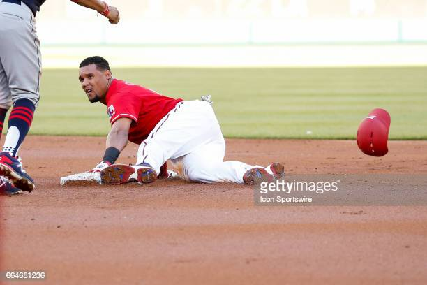 Texas Rangers Center field Carlos Gomez looks up after being thrown out stealing 2nd base during the MLB opening day baseball game between the Texas...