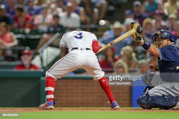 Texas Rangers Center field Delino DeShields has a pitch thrown over his head during the game between the San Diego Padres and Texas Rangers on June...