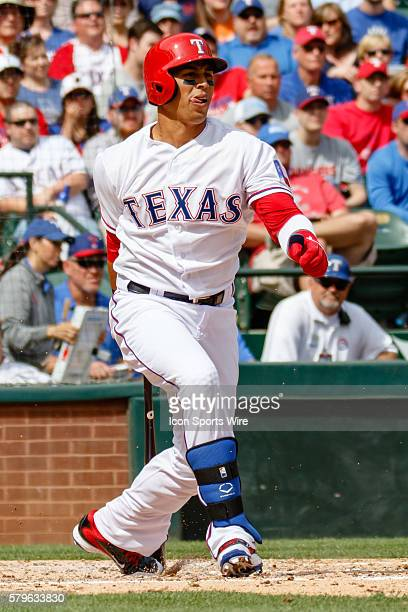 Texas Rangers Center field Leonys Martin [8828] during the home opener between the Texas Rangers and the Houston Astros played at Globe Life Park in...