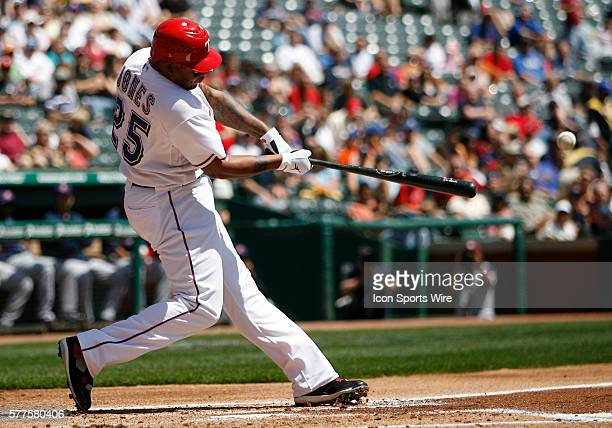 Texas Rangers center fielder Andruw Jones getting his first hit on his first at bat for the Texas Rangers during the game between the Cleveland...