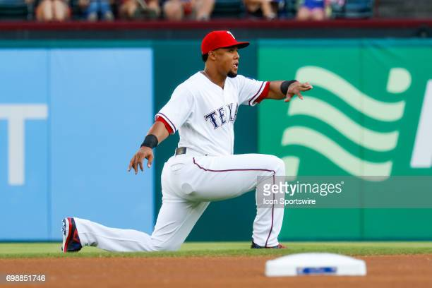 Texas Rangers center fielder Carlos Gomez warms up prior to the MLB game between the Toronto Blue Jays and Texas Rangers on June 19 2017 at Globe...