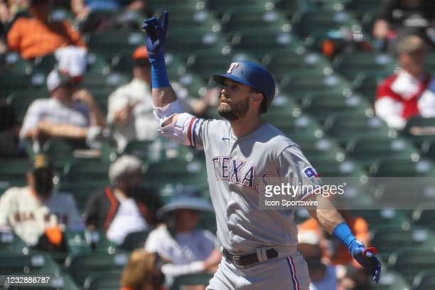Texas Rangers center fielder David Dahl celebrates after hitting a home run during the MLB game between the Texas Rangers and the San Francisco...
