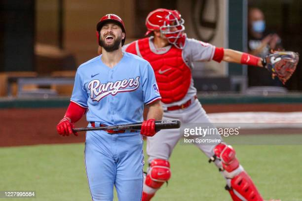 Texas Rangers center fielder Joey Gallo reacts after striking out during the MLB game between the Los Angeles Angels and Texas Rangers on August 9,...