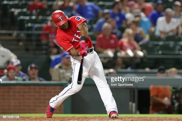 Texas Rangers Designated hitter Adrian Beltre bats during the game between the Chicago White Sox and Texas Rangers on June 29 2018 at Globe Life Park...