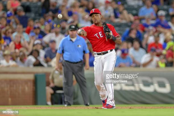 Texas Rangers Designated hitter Adrian Beltre throws to first after making a play on a ground ball during the game between the Chicago White Sox and...