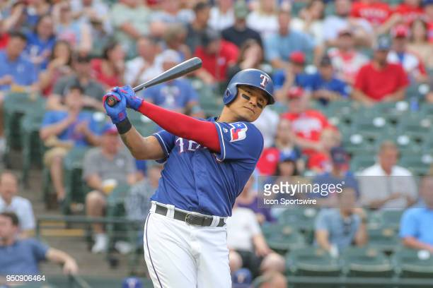 Texas Rangers designated hitter ShinSoo Choo swings the bat during the game between the Texas Rangers and the Oakland Athletics on April 24 2018 at...