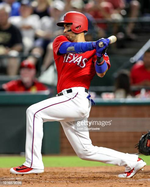 Texas Rangers DH Robinson Chirinos swings at a pitch during the game between the Arizona Diamondbacks and Texas Rangers on August 14 2018 at Globe...
