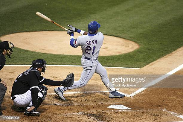 Texas Rangers' DH, Sammy Sosa hits a 2nd inning home run during their game versus the Chicago White Sox April 19, 2007 at U.S. Cellular Field in...