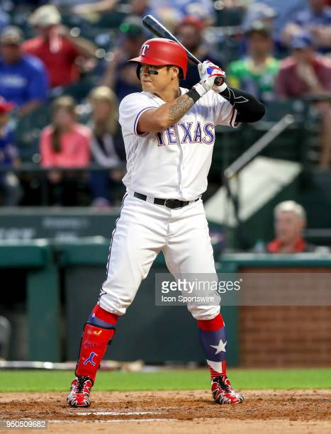 Texas Rangers DH ShinSoo Choo gets ready for a pitch during the game between the Texas Rangers and the Oakland Athletics on April 23 2018 at Globe...