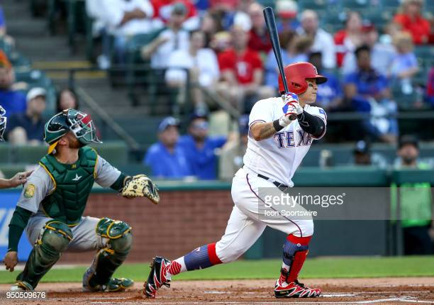 Texas Rangers DH ShinSoo Choo swings at a pitch during the game between the Texas Rangers and the Oakland Athletics on April 23 2018 at Globe Life...