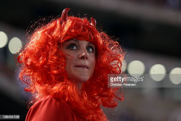 Texas Rangers' fan looks on prior to taking on the San Francisco Giants in Game Four of the 2010 MLB World Series at Rangers Ballpark in Arlington on...