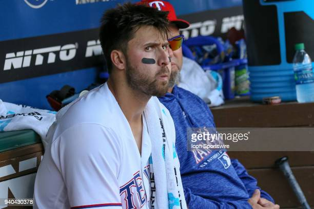 Texas Rangers First base Joey Gallo sits in the dugout during the baseball game between the Houston Astros and Texas Rangers on March 31 2018 at...