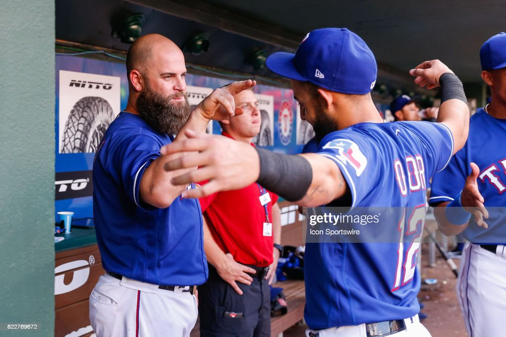 Texas Rangers First base Mike Napoli (5) and Second base Rougned Odor (12) prior to the MLB game between the Miami Marlins and Texas Rangers on July 24, 2017 at Globe Life Park in Arlington, TX.