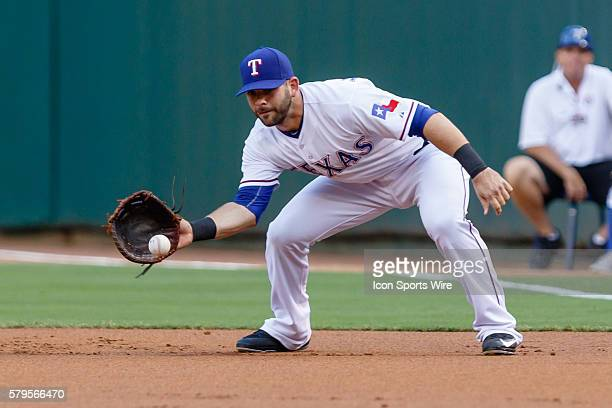 Texas Rangers First base Mitch Moreland [7778] makes a play on a ground ball during the MLB game between the Los Angeles Angels of Anaheim and the...
