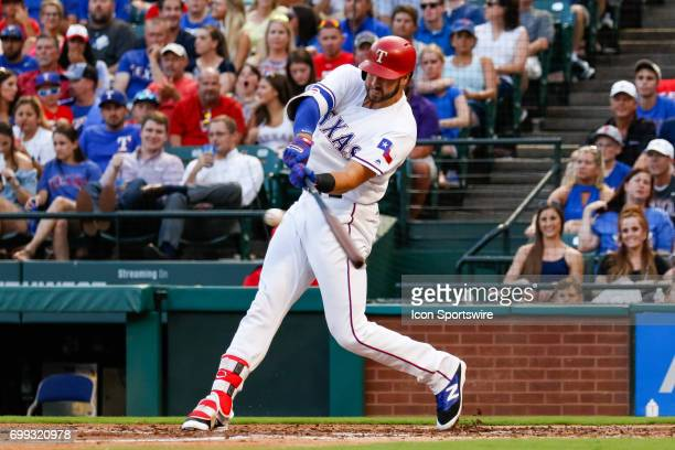 Texas Rangers first baseman Joey Gallo bats during the MLB game between the Toronto Blue Jays and Texas Rangers on June 19 2017 at Globe Life Park in...