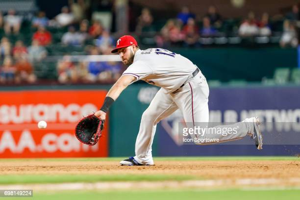 Texas Rangers first baseman Joey Gallo fields a ground ball during the MLB game between the Toronto Blue Jays and Texas Rangers on June 19, 2017 at...