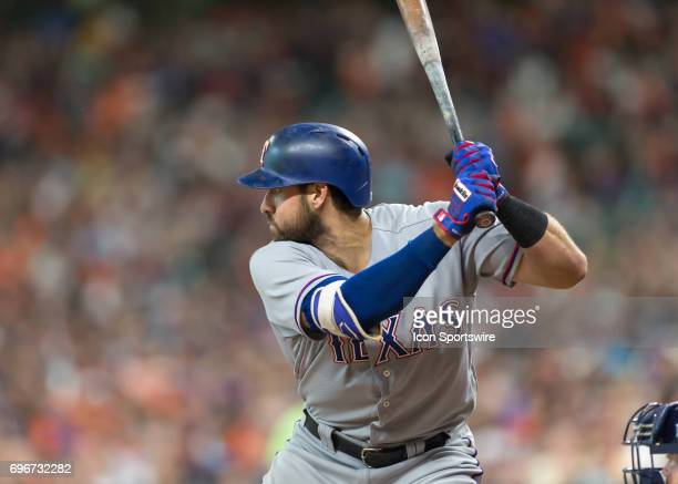 Texas Rangers first baseman Joey Gallo waits for the pitch during the MLB game between the Texas Rangers and Houston Astros on June 14 2017 at Minute...