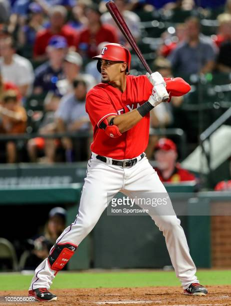 Texas Rangers first baseman Ronald Guzman waits for a pitch during the game between the Los Angeles Dodgers and Texas Rangers on August 28 2018 at...