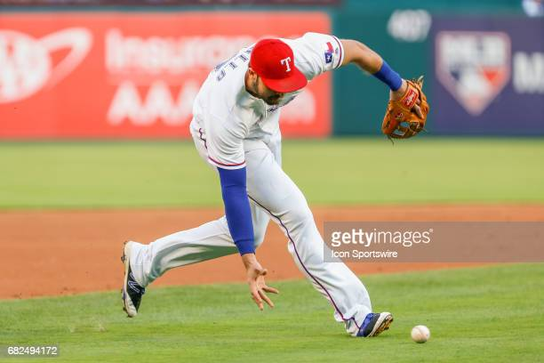 Texas Rangers Infield Joey Gallo bare hands a ground ball during the MLB game between the Oakland Athletics and Texas Rangers on May 12 2017 at Globe...