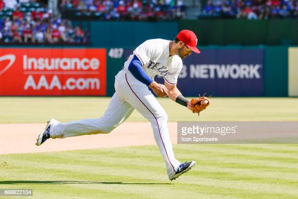 Texas Rangers Infield Joey Gallo makes a play on a ground ball during the MLB baseball game between the Oakland Athletics and Texas Rangers on April...