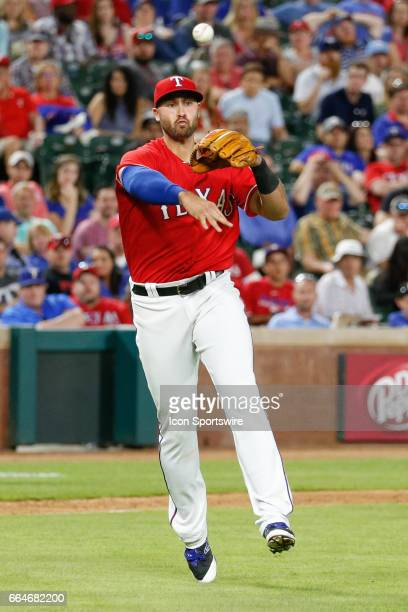 Texas Rangers Infield Joey Gallo throws to first base during the MLB opening day baseball game between the Texas Rangers and Cleveland Indians on...