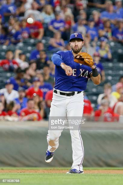 Texas Rangers Infield Joey Gallo throws to first during the MLB game between the Kansas City Royals and Texas Rangers on April 21 2017 at Globe Life...