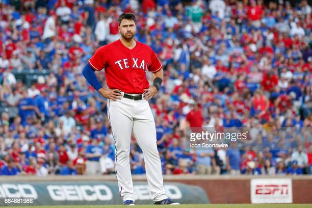 Texas Rangers Infield Joey Gallo waits in the infield between innings during the MLB opening day baseball game between the Texas Rangers and...