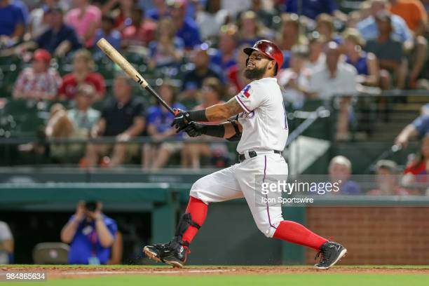 Texas Rangers Infield Rougned Odor watches his fly ball during the game between the San Diego Padres and Texas Rangers on June 26 2018 at Globe Life...