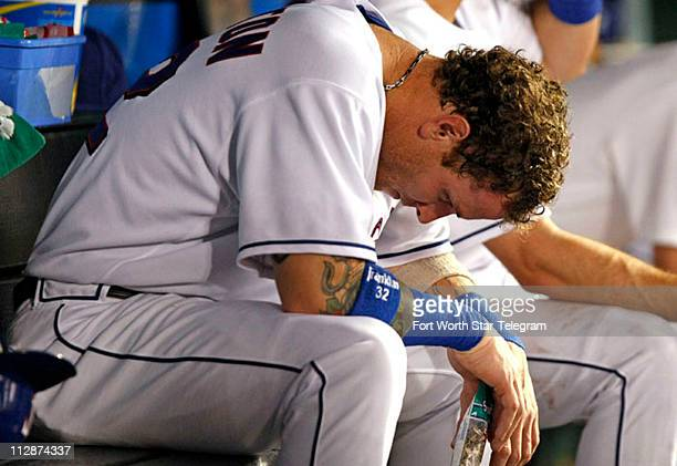 Texas Rangers Josh Hamilton in the dugout in the fifth inning against the Tampa Bay Devils Rays at Rangers Ballpark in Arlington Texas on Friday...