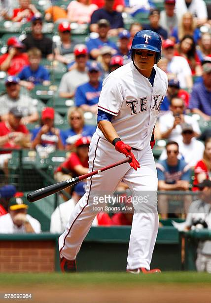 Texas Rangers Left field ShinSoo Choo [3192] during a regular season MLB game between the Chicago White Sox and Texas Rangers at Globe Life Park in...