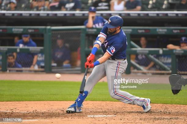 Texas Rangers left fielder David Dahl grounds out sharply to the pitcher during the Detroit Tigers versus the Texas Rangers game on Monday July 19,...