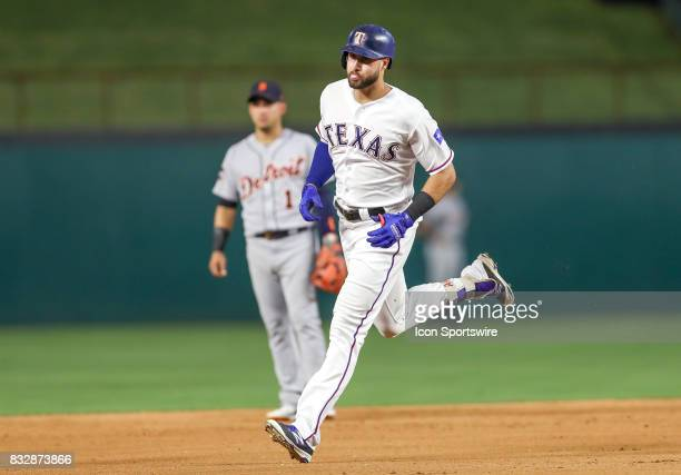 Texas Rangers left fielder Joey Gallo rounds the bases after hitting a home run during the MLB game between the Detroit Tigers and Texas Rangers on...