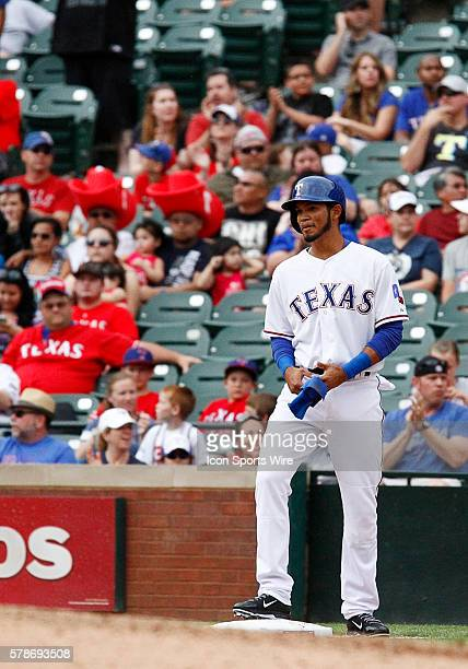 Texas Rangers Luis Sardinas after collecting his first major league hit during a regular season MLB game between the Chicago White Sox and Texas...