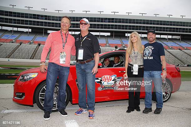 Texas Rangers Manager Jeff Banister former Tampa Bay Devil Rays relief pitcher Jim Morris Gena O'Kelley and actor Chuck Norris pose with the AAA...