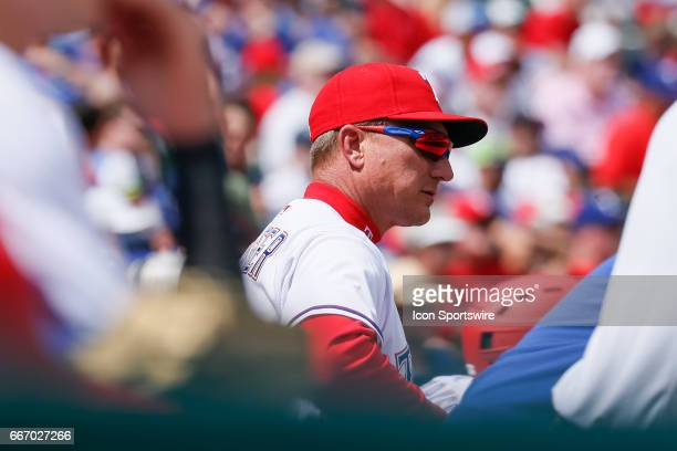 Texas Rangers Manager Jeff Banister looks on from the bench during the MLB baseball game between the Oakland Athletics and Texas Rangers on April 9...