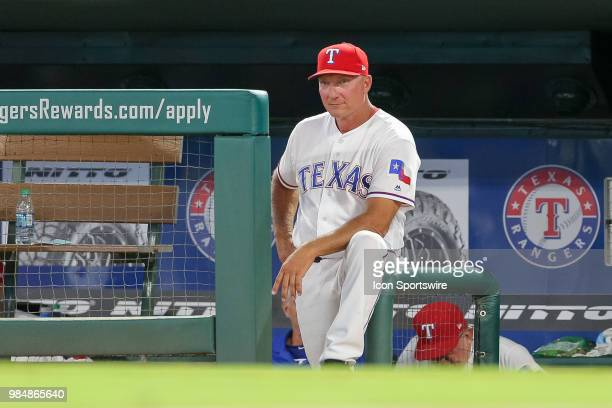 Texas Rangers Manager Jeff Banister looks on from the dugout during the game between the San Diego Padres and Texas Rangers on June 26 2018 at Globe...