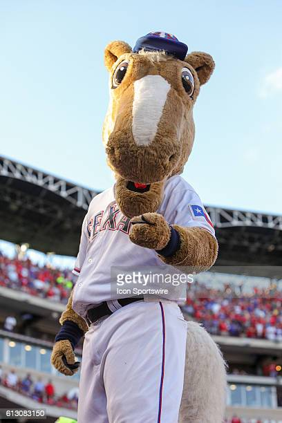 Texas Rangers mascot 'Captain' during game 1 of the ALDS between the Toronto Blue Jays and Texas Rangers at Globe Life Park in Arlington TX Toronto...
