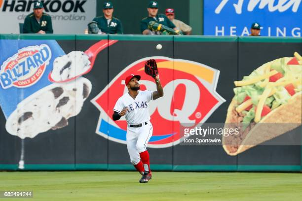 Texas Rangers Outfield Delino DeShields makes a catch in left field during the MLB game between the Oakland Athletics and Texas Rangers on May 12,...