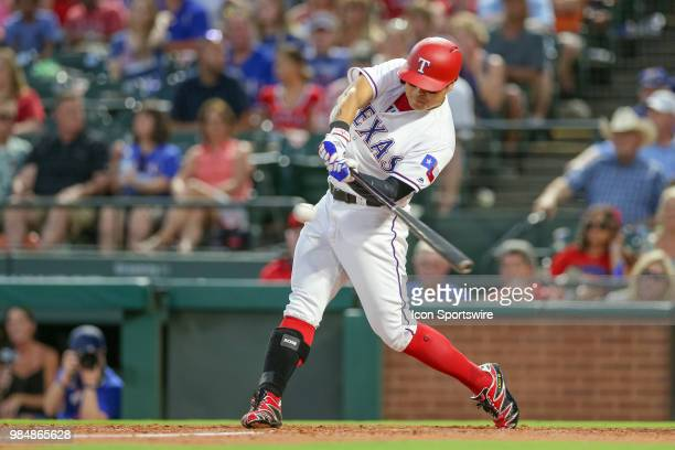 Texas Rangers Outfield ShinSoo Choo bats during the game between the San Diego Padres and Texas Rangers on June 26 2018 at Globe Life Park in...