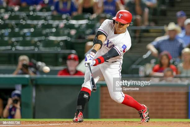 Texas Rangers Outfield ShinSoo Choo extends his league leading 39 game on base streak with a single in the 9th inning of the game between the San...