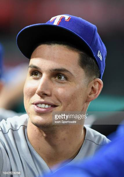 Texas Rangers outfielder Drew Robinson in the dugout before the start of a game against the Los Angeles Angels of Anaheim played on September 26 2018...
