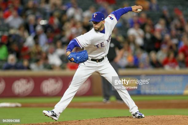 Texas Rangers Pitcher Alex Claudio comes on in relief during the game between the Los Angeles Angels and Texas Rangers on April 9 2018 at Globe Life...
