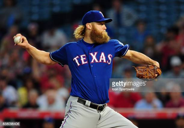 Texas Rangers pitcher Andrew Cashner in action during the first inning of a game against the Los Angeles Angels of Anaheim on August 23 played at...