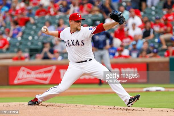 Texas Rangers Pitcher Austin BibensDirkx makes his first major league start during the MLB game between the Tampa Bay Rays and Texas Rangers on May...