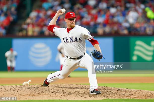 Texas Rangers Pitcher Austin BibensDirkx throws a pitch during the MLB game between the Toronto Blue Jays and Texas Rangers on June 19 2017 at Globe...