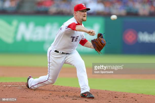 Texas Rangers Pitcher Austin BibensDirkx throws a pitch during the game between the San Diego Padres and Texas Rangers on June 26 2018 at Globe Life...