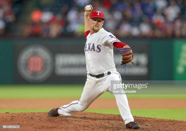 Texas Rangers Pitcher Austin BibensDirkx throws during the game between the San Diego Padres and Texas Rangers on June 26 2018 at Globe Life Park in...