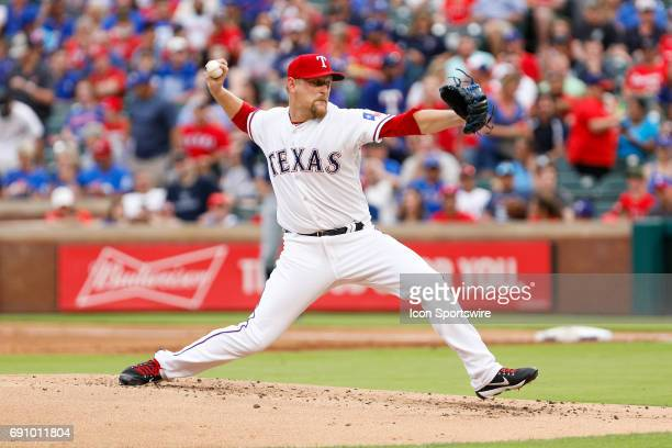 Texas Rangers Pitcher Austin BibensDirkx throws during the MLB game between the Tampa Bay Rays and Texas Rangers on May 31 2017 at Globe Life Park in...