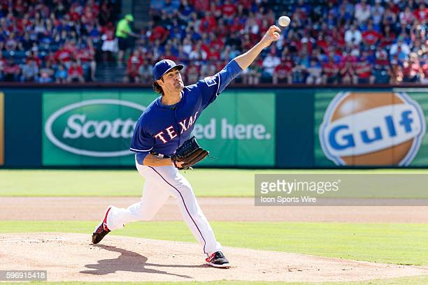 Texas Rangers Pitcher Cole Hamels during the MLB game between the Los Angeles Angels of Anaheim and the Texas Rangers at Globe Life Park in Arlington...
